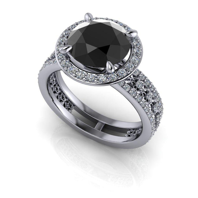 Black Diamond Ring, Diamond Engagement Ring 3.00 CTW-Bel Viaggio Designs