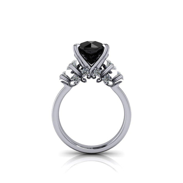 Black Diamond Ring, Marquise Engagement Ring, 5.35 CTW-BVD