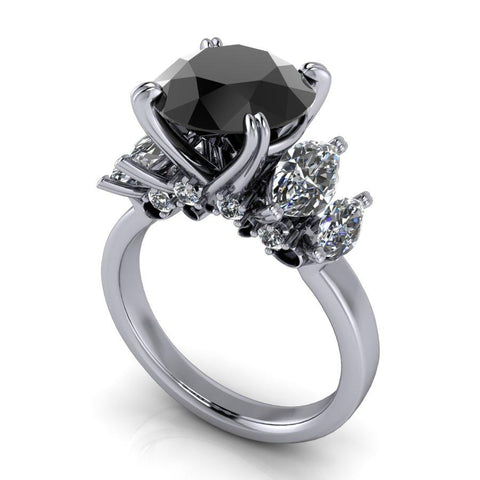 Black Diamond Ring, Marquise Engagement Ring, 5.35 CTW-Bel Viaggio Designs