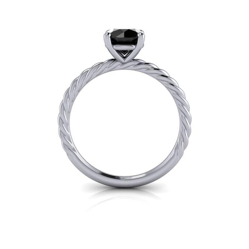 Black Diamond Solitaire Engagement Ring 1.00 ctw-Bel Viaggio Designs