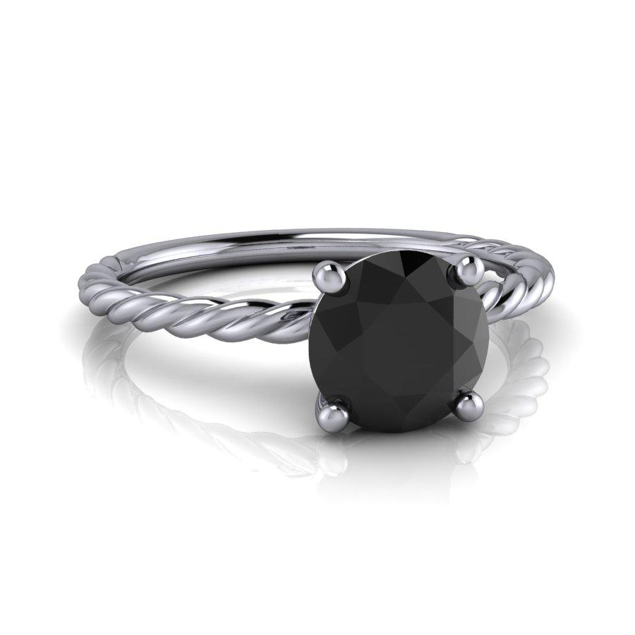 Black Diamond Solitaire Engagement Ring 1.00 ctw-BVD