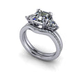 Asscher & Trillion Three Stone Ring/Bridal Set 2.90 ctw-Bel Viaggio Designs