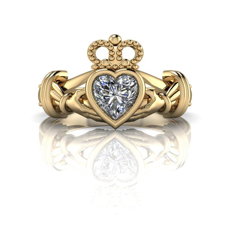 Celtic Claddagh Ring Heart Moissanite .50 ct-Bel Viaggio Designs