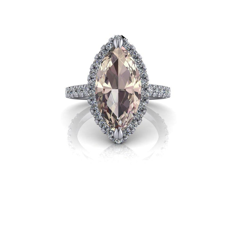 Certified Marquise Morganite Engagement Ring Diamond Engagement Ring 4.74 CTW-Bel Viaggio Designs