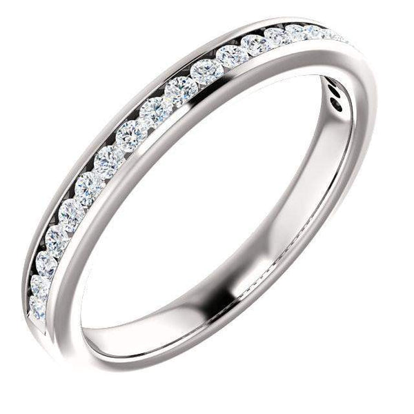 Channel Set Diamond Anniversary Band 14K White Gold .50 CTW-Bel Viaggio Designs