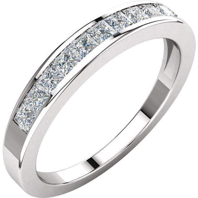 Channel Set Princess Cut Diamond Anniversary Band 14K White Gold .50 CTW-Bel Viaggio Designs, LLC