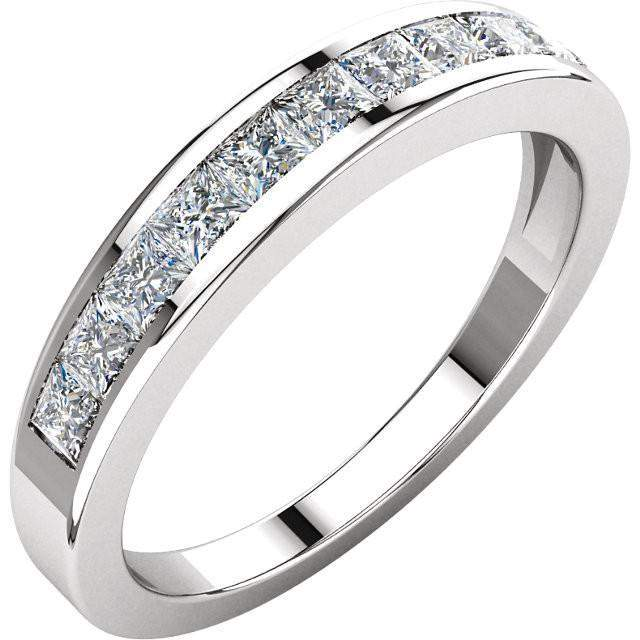 Channel Set Princess Cut Diamond Anniversary Band 14K White Gold .75 CTW-Diamond Jewelry-Bel Viaggio Designs-Bel Viaggio®