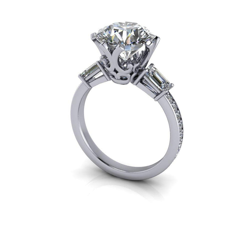 Charles and Colvard Moissanite Engagement Ring Round and Emerald Cut 3.84 CTW-Bel Viaggio Designs
