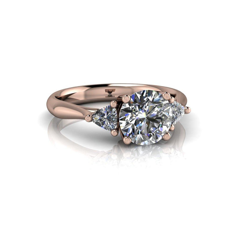 Charles and Colvard Moissanite Engagement Ring Trillion Ring 1.53 ctw-Bel Viaggio Designs
