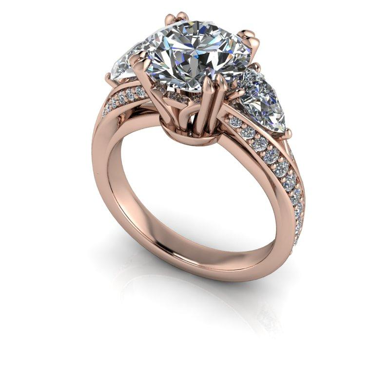 Charles & Colvard Hearts & Arrows Round Moissanite Engagement Ring 3.50 ctw-Bel Viaggio Designs