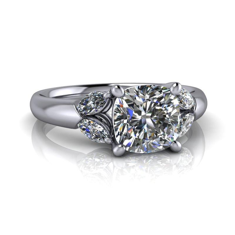 Cushion Moissanite Engagement Ring Marquise Accents 1.31 ctw-Bel Viaggio Designs