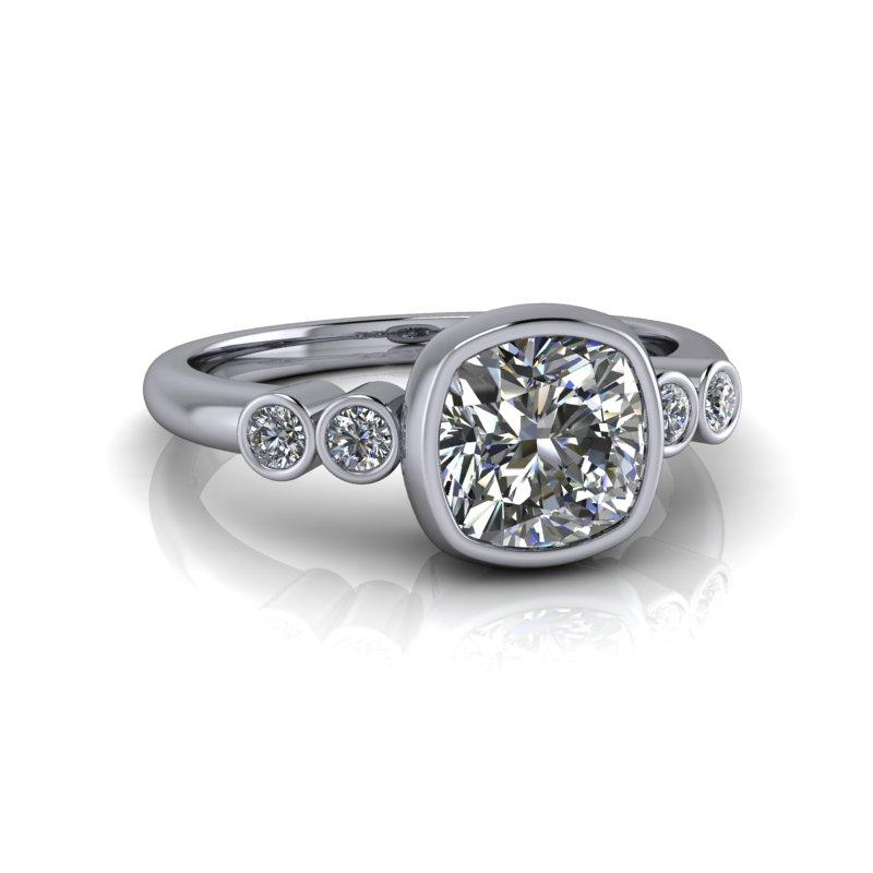Charles & Colvard Moissanite Engagement Ring, Cushion Cut 1.32 ctw-Bel Viaggio Designs