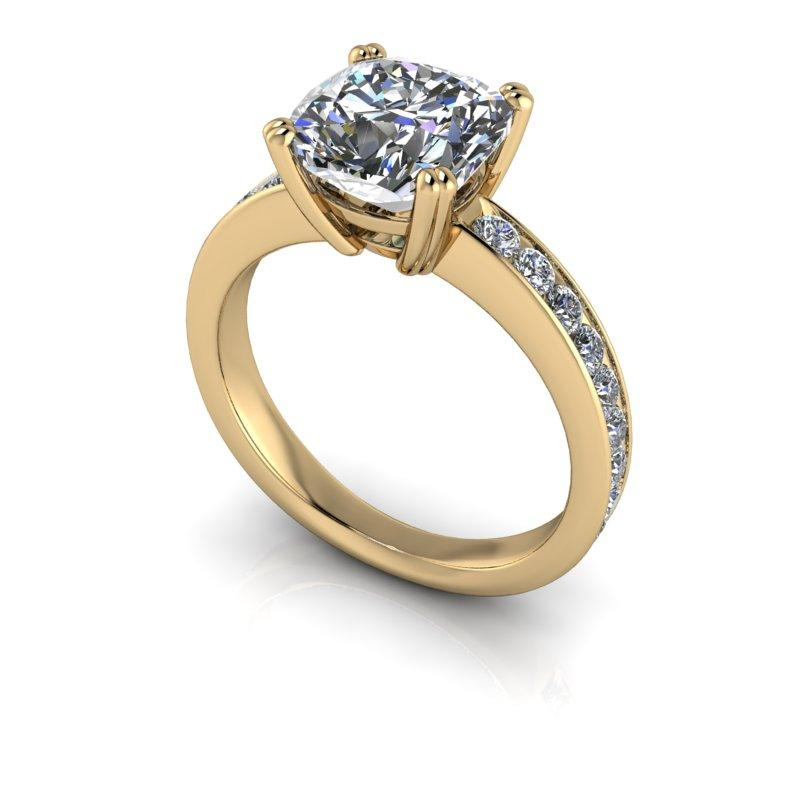 Charles & Colvard Moissanite Engagement Ring, Cushion Cut 2.91 ctw-Bel Viaggio Designs