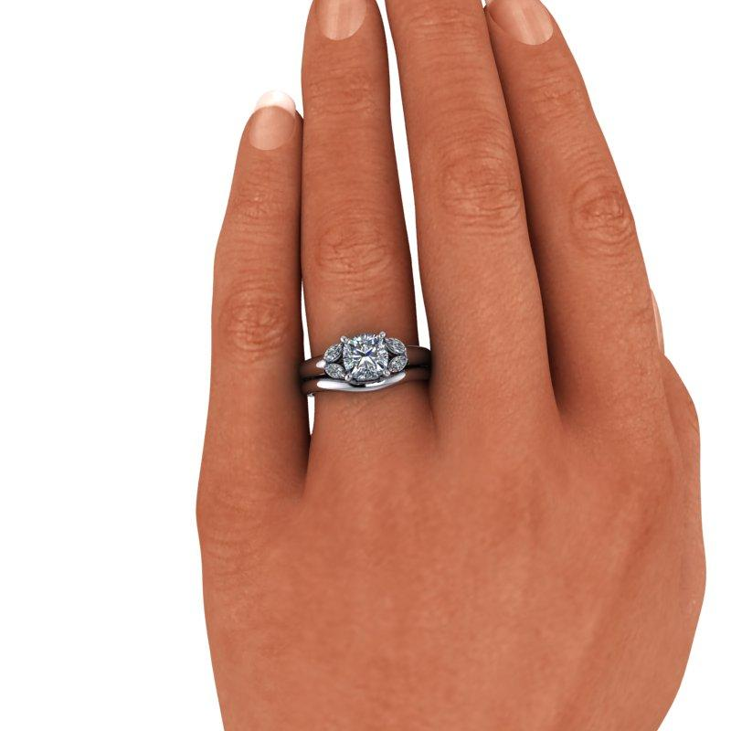 Moissanite Engagement Ring, Cushion Cut Bridal Set 1.31 ctw-Bel Viaggio Designs