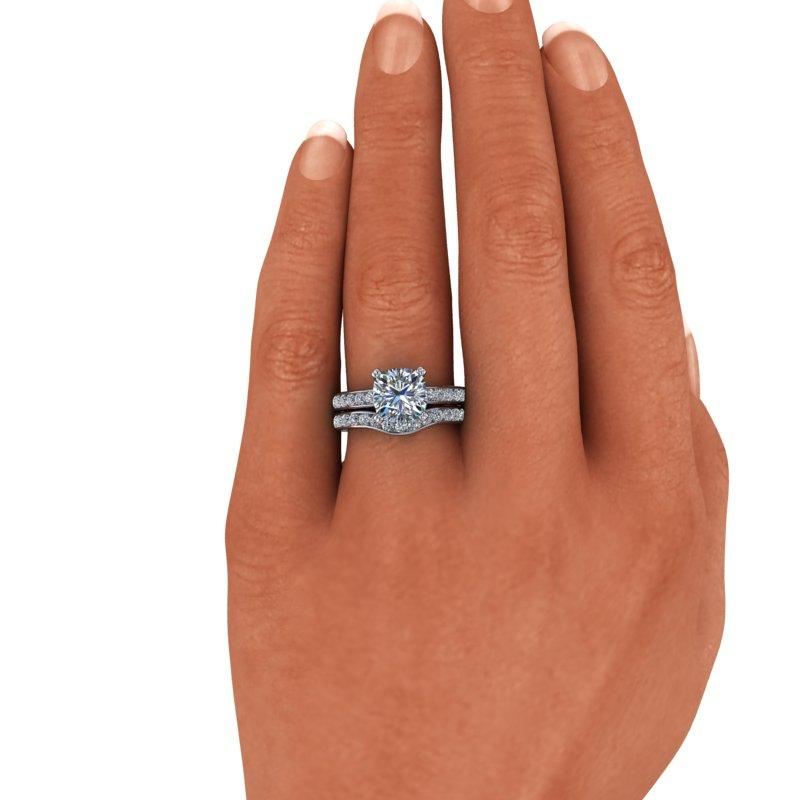 Charles & Colvard Moissanite Engagement Ring, Cushion Cut Bridal Set 3.61 ctw-Bel Viaggio Designs