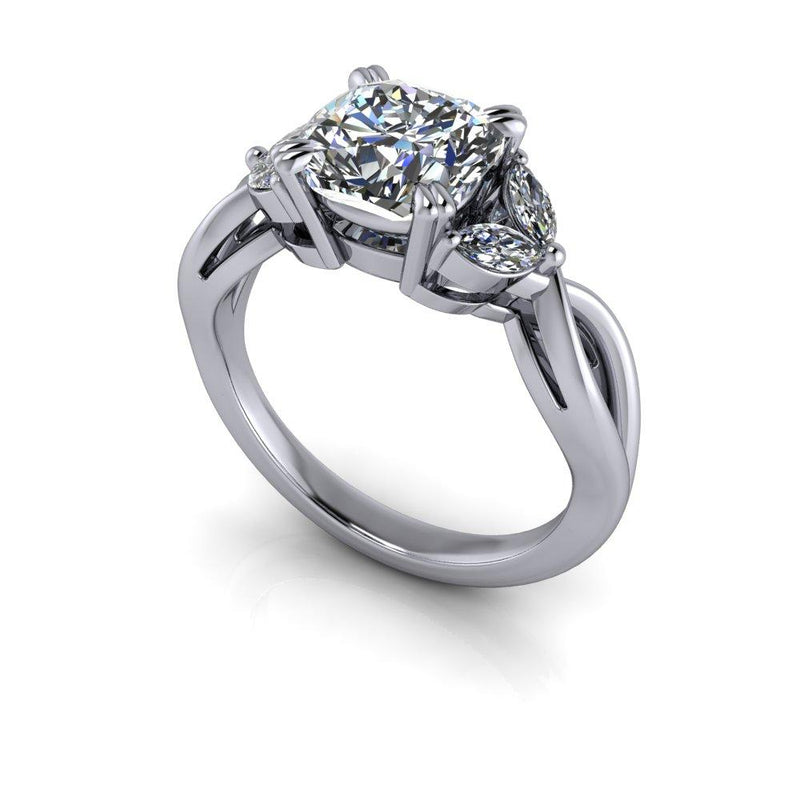 Cushion Cut Moissanite Engagement Ring Marquise Ring 2.28 ctw-Bel Viaggio Designs