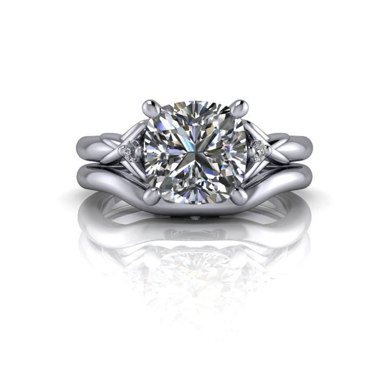 Cushion Cut Moissanite Engagement Ring/Bridal Set 2.05 ctw-Bel Viaggio Designs