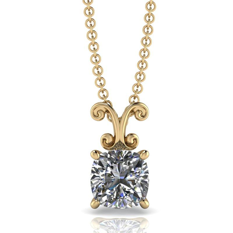 Cushion Cut Moissanite Necklace, Drop Necklace 14 kt gold 1.30 ctw-Bel Viaggio Designs
