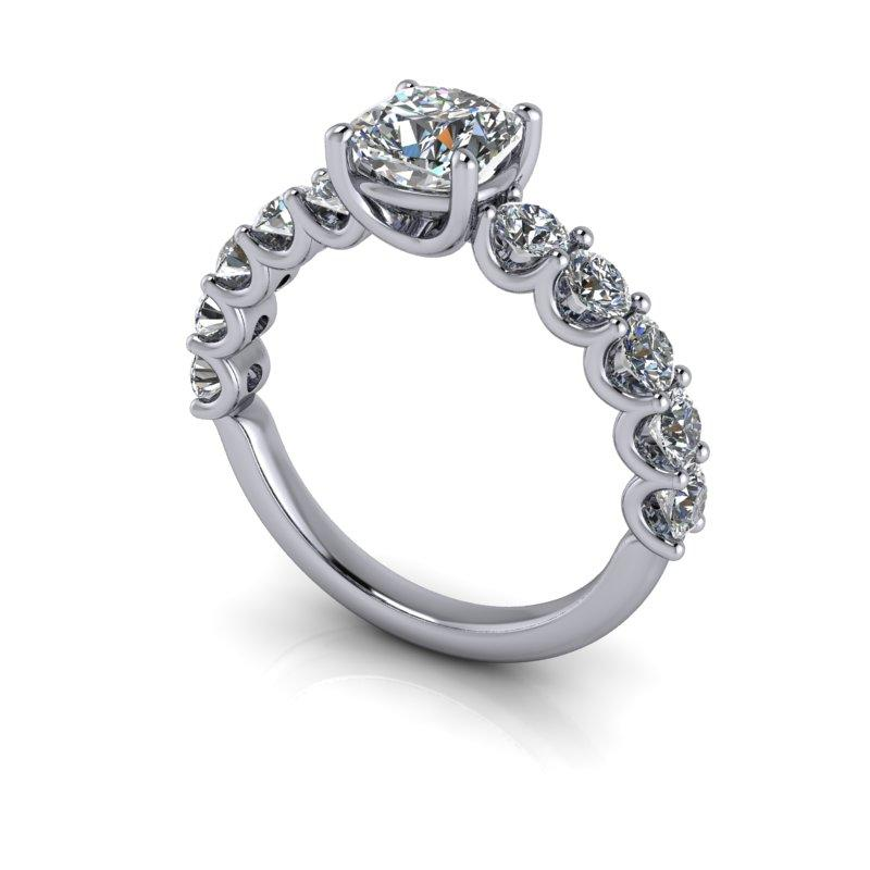 Cushion Forever One Moissanite Anniversary Ring, U-Prongs 2.10 ctw-Bel Viaggio Designs