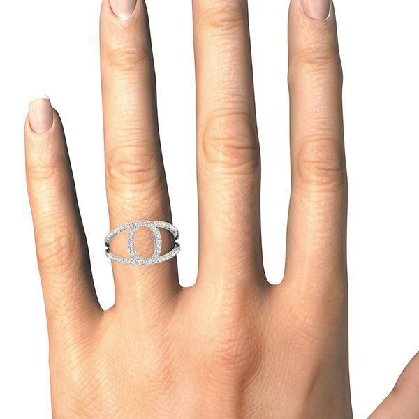 "Diamond ""O"" Ring, Negative Space Ring 1/2 ctw-Bel Viaggio Designs"