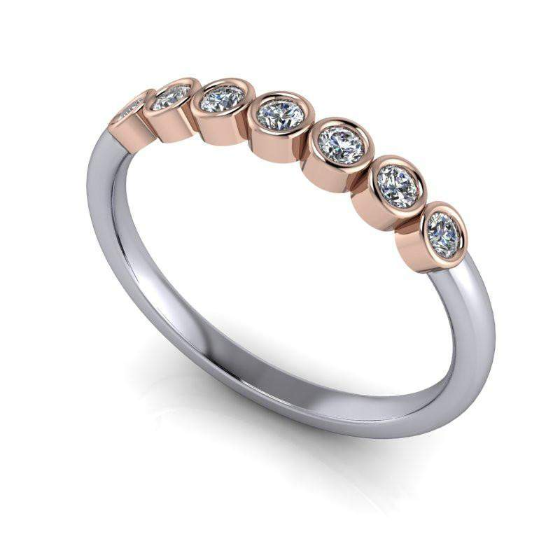 Lab Diamond Wedding Band Bezel Set Stacking Ring .21 ctw-Bel Viaggio Designs