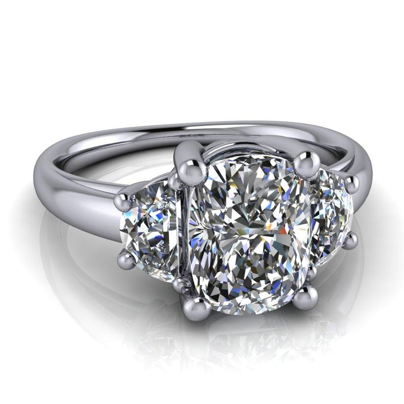 Elongated Cushion Cut and Half Moon Moissanite Engagement Ring 2.06 ctw-Bel Viaggio Designs