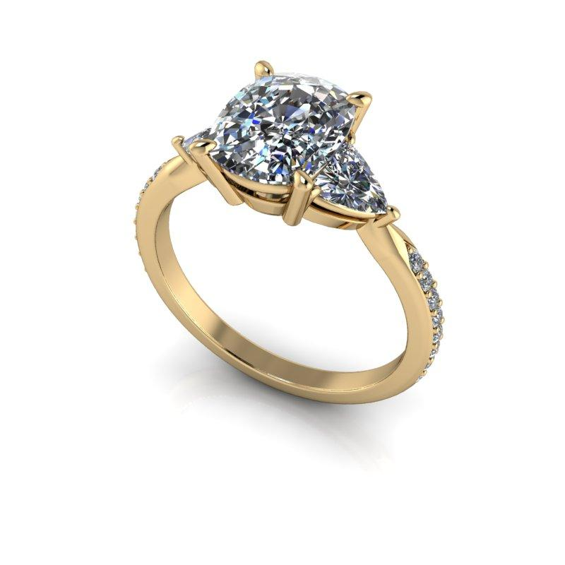 Elongated Cushion Cut and Trillion Moissanite Engagement Ring 2.33 ctw-Bel Viaggio Designs