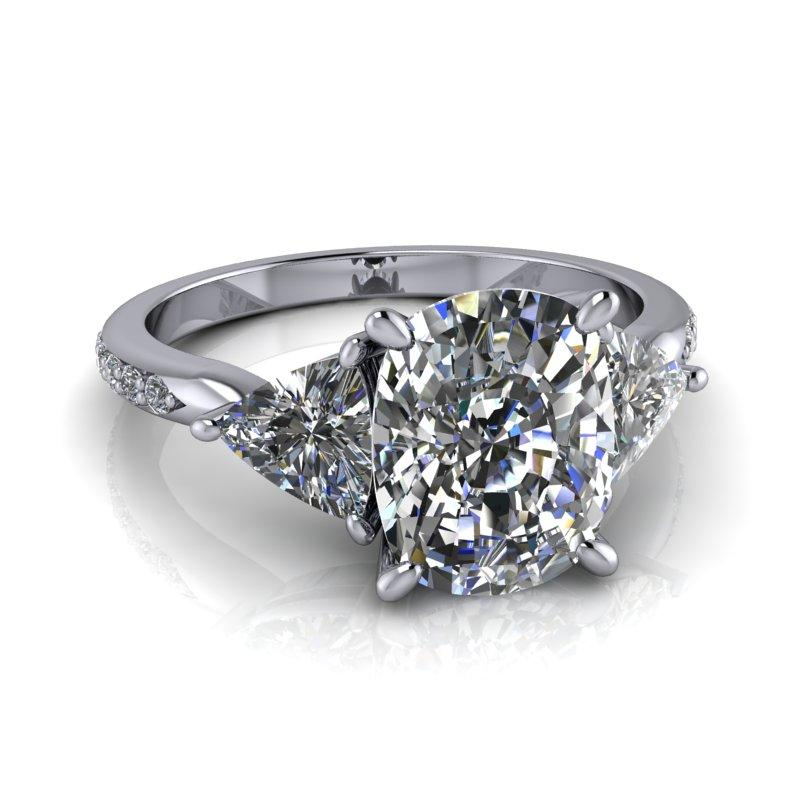 Elongated Cushion Cut and Trillion Moissanite Engagement Ring 3.41 ctw-Bel Viaggio Designs