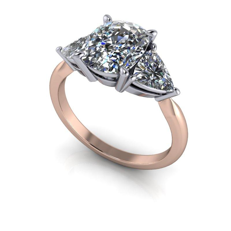 Elongated Cushion Cut and Trillion Moissanite Engagement Ring 4.58 ctw-Bel Viaggio Designs