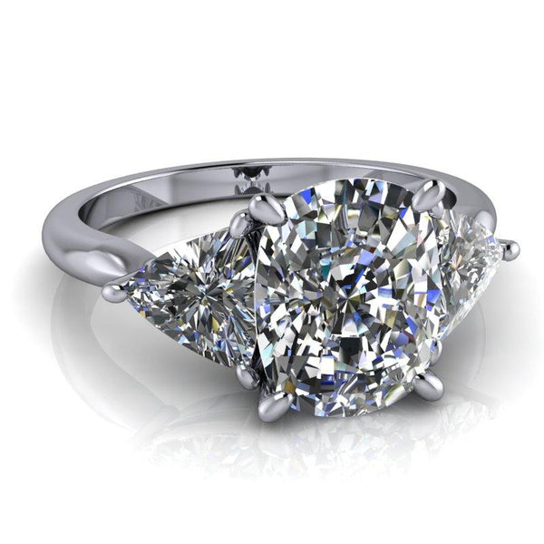 Elongated Cushion Cut and Trillion Moissanite Engagement Ring 4.58 ctw-BVD