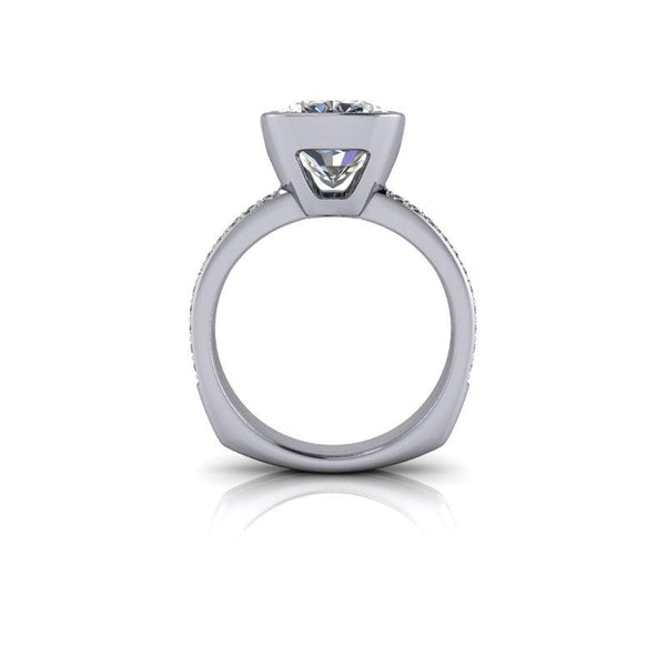Elongated Cushion Cut Moissanite Engagement Ring Split Shank 5.30 ctw-Bel Viaggio Designs