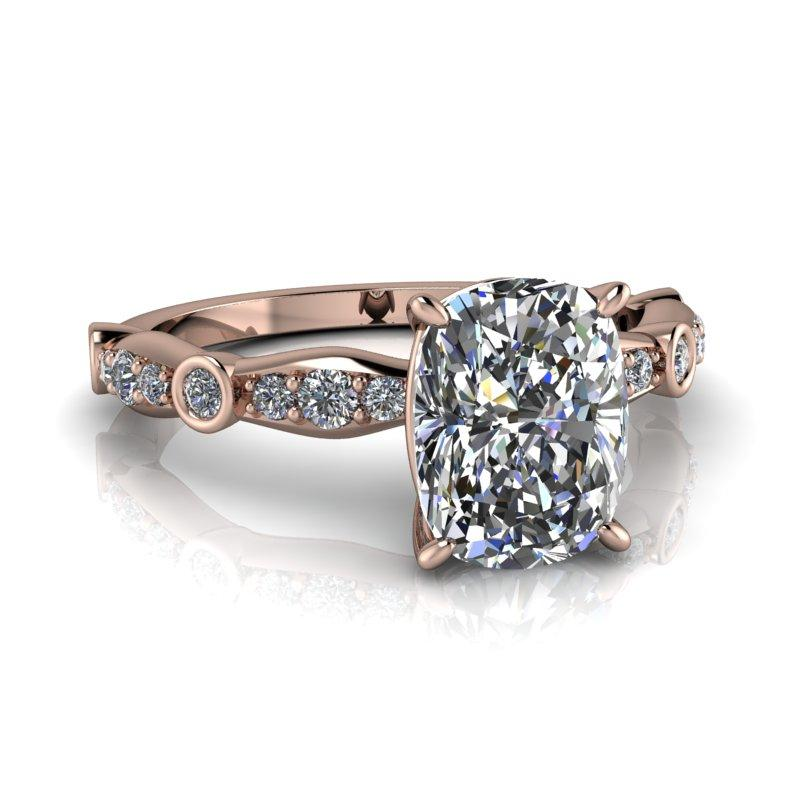 Elongated Cushion Cut Moissanite and Lab Grown Diamond Engagement Ring, 1.81 ctw-Bel Viaggio Designs