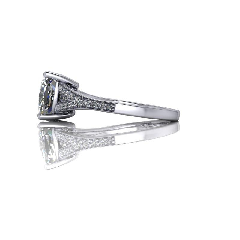 Elongated Cushion Cut Moissanite Ring, Split Shank 2.65 ctw-Bel Viaggio Designs