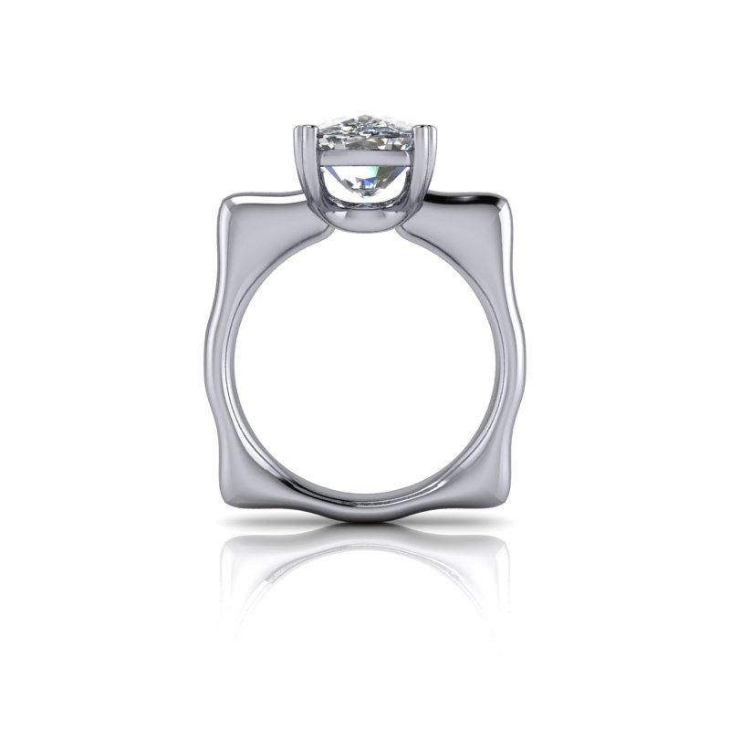 Elongated Cushion Cut Moissanite Ring, Unique Modern Style 5.00 ctw-Bel Viaggio Designs