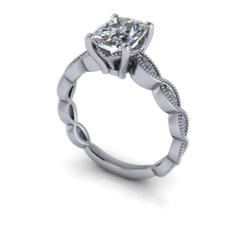 Elongated Cushion Cut Moissanite Ring, Vintage Inspired 1.67 ctw-Bel Viaggio Designs