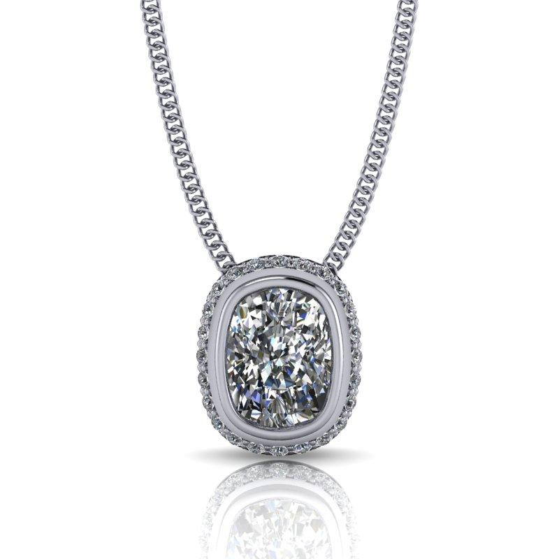 Elongated Cushion Moissanite Necklace, Pendant Necklace 14 kt gold 1.77 ctw-Bel Viaggio Designs