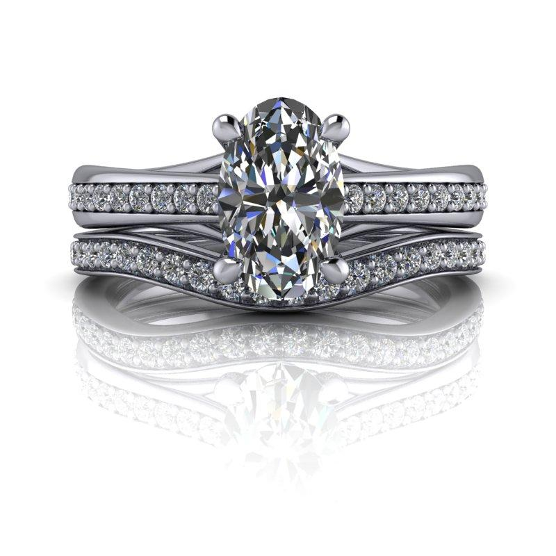 Elongated Oval Moissanite Bridal Set 1.61 ctw-Bel Viaggio Designs