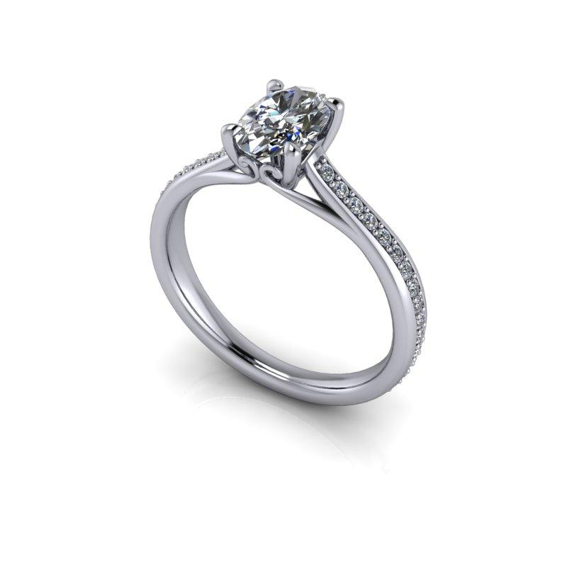 Elongated Oval Moissanite Engagement Ring 1.40 ctw-Bel Viaggio Designs