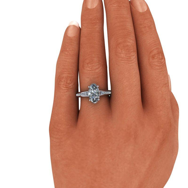 Elongated Oval Forever One Moissanite Engagement Ring 2.56 ctw-Bel Viaggio Designs