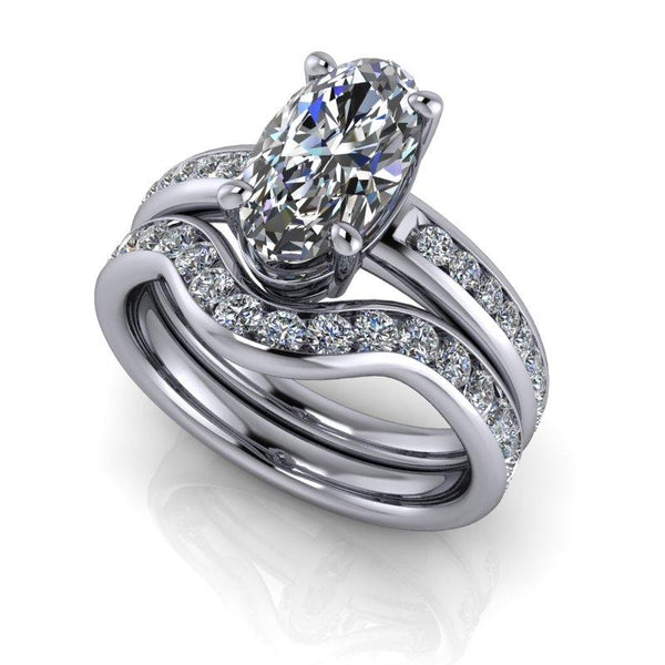 Elongated Oval Forever One Moissanite Engagement Ring/Bridal Set 3.16 ctw-Bel Viaggio Designs