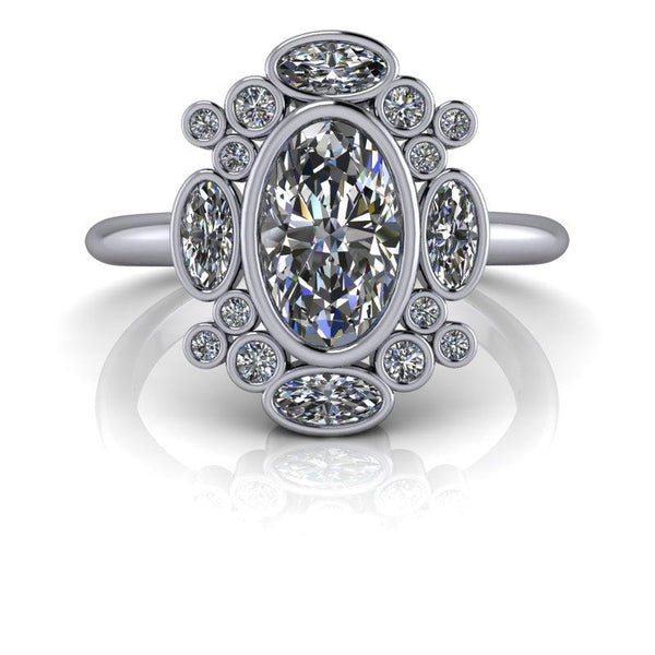 Elongated Oval Forever One Moissanite Ring 1.61 ctw-Bel Viaggio Designs