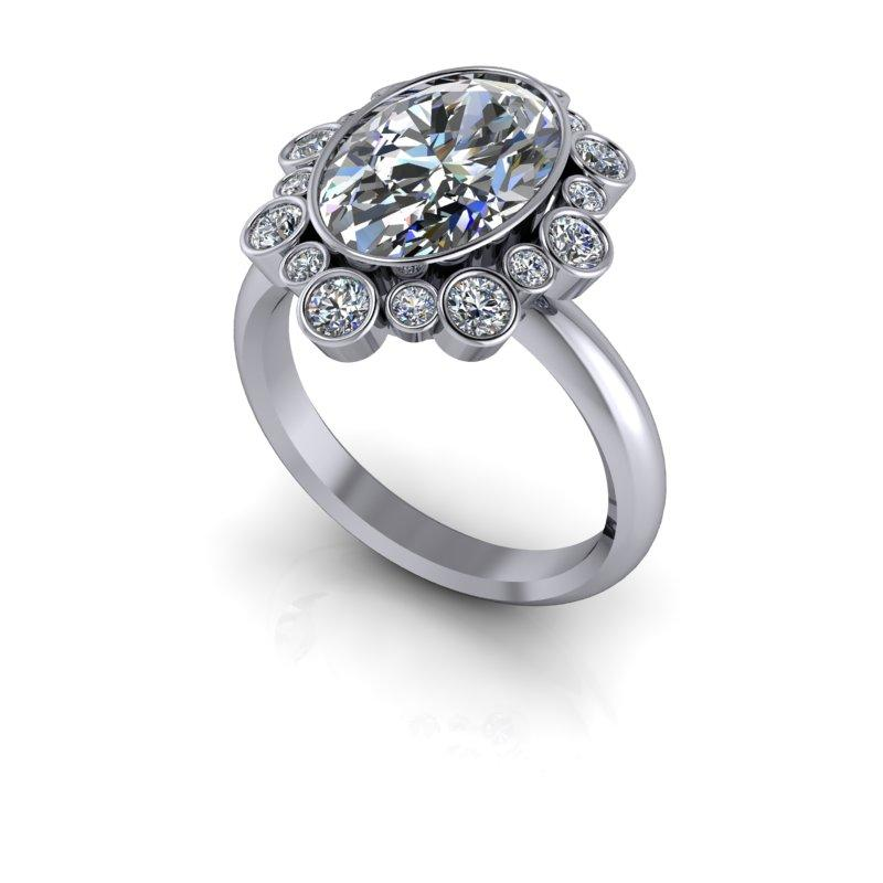 Elongated Oval Forever One Moissanite Ring 5.04 ctw-Bel Viaggio Designs