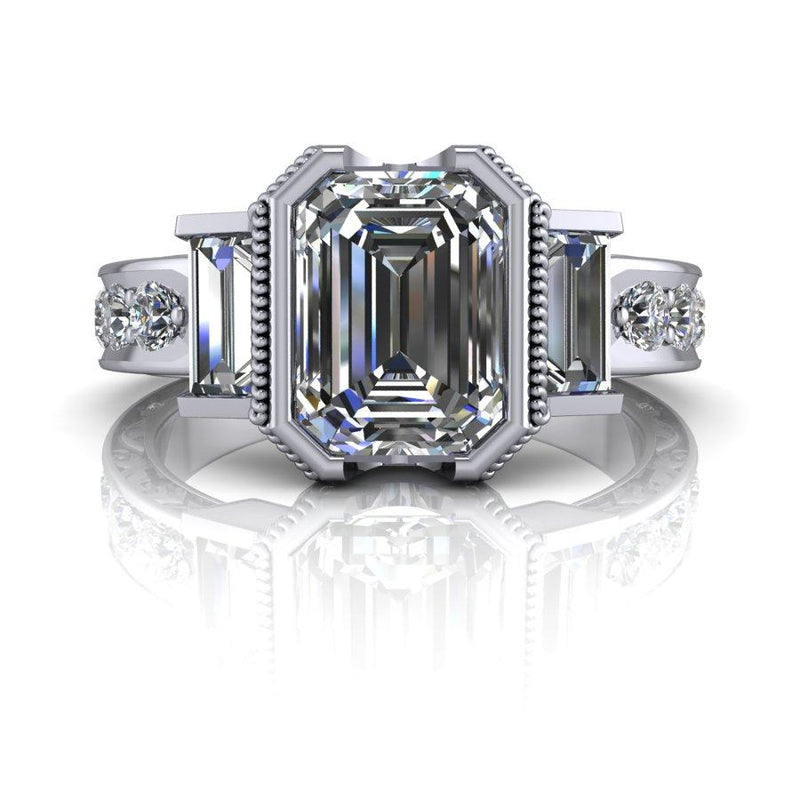 Emerald Cut Forever One Moissanite Three Stone Ring, Vintage Inspired 2.77 ctw-Bel Viaggio Designs