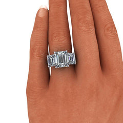 Emerald Cut Moissanite Three Stone Anniversary Ring 10.10 CTW-BVD