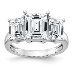 Emerald Cut Moissanite Three Stone Anniversary Ring 3.76 CTW-BVD
