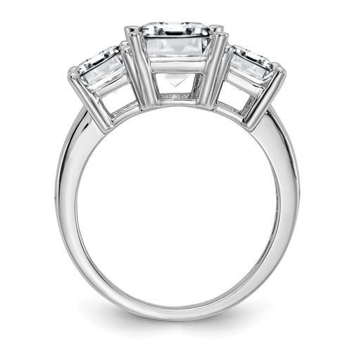 Emerald Cut Moissanite Three Stone Anniversary Ring 4.60 CTW-Bel Viaggio Designs
