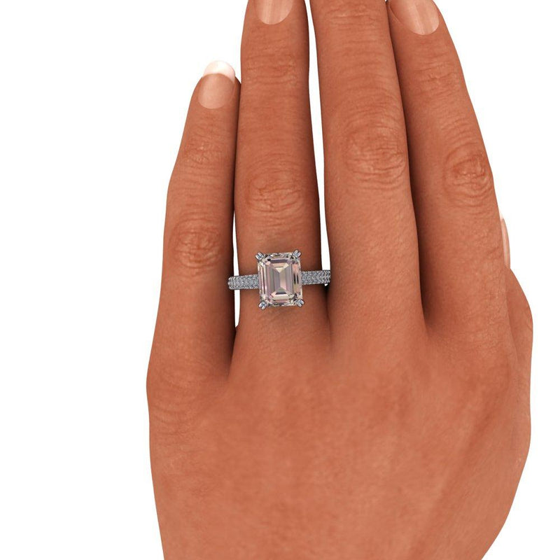Emerald Cut Morganite Engagement Ring Diamond Engagement Ring 2.65 CTW-Bel Viaggio Designs