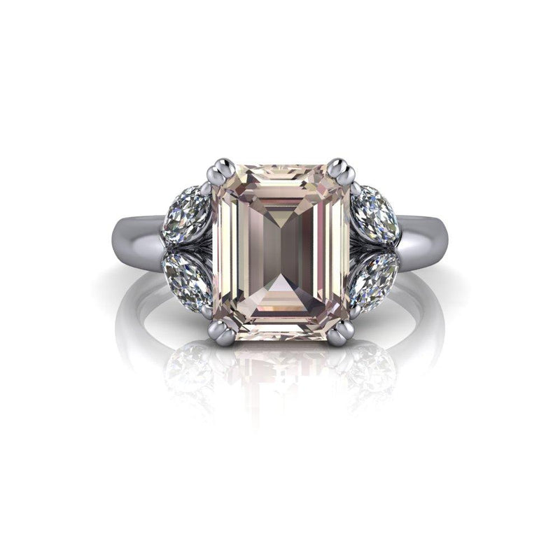 Emerald Cut Morganite Engagement Ring Diamond Marquise Engagement Ring 2.65 CTW-Bel Viaggio Designs