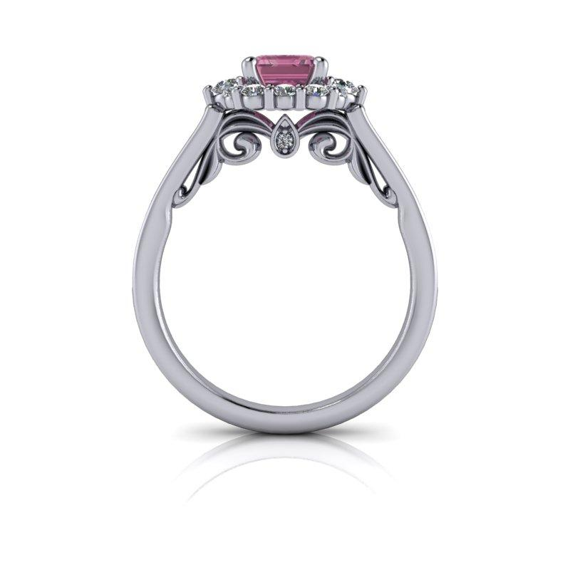 Emerald Cut Pink Sapphire Halo Engagement Ring 1.67 ctw-Bel Viaggio Designs