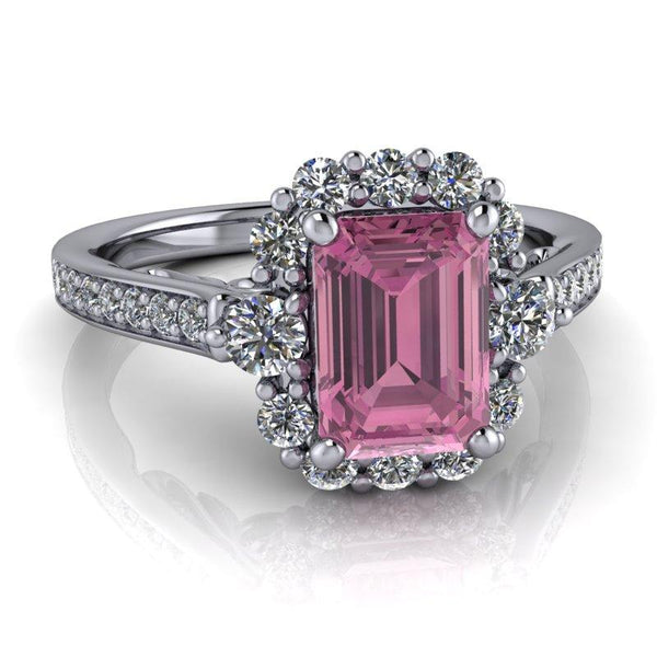 Emerald Cut Pink Sapphire Halo Engagement Ring/Bridal Set 1.83 ctw-Bel Viaggio Designs